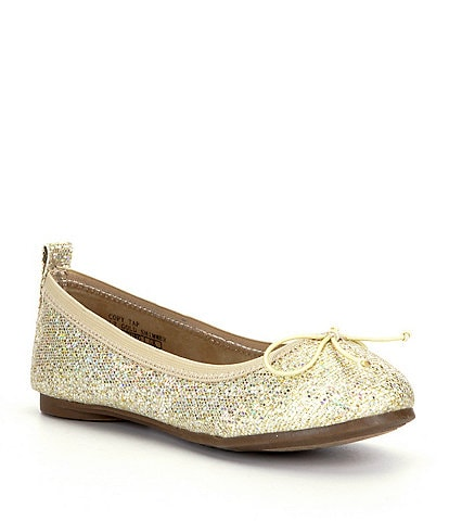 Kenneth Cole Reaction Girls' Copy Tap Glitter Bow Detail Flats