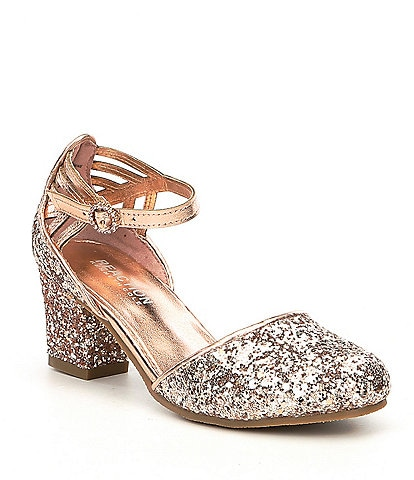 Kenneth Cole Reaction Girls' Sarah Shine Glitter Ankle Strap Block Heel Dress Shoes