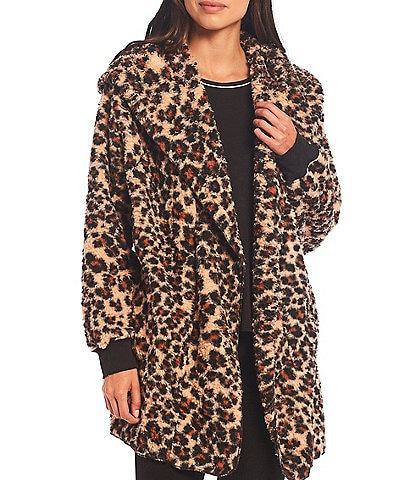 Kensie Animal Print Hooded Faux Sherpa Bed Jacket
