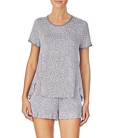 Kensie Animal-Print Jersey Knit Top & Shorts Pajama Set