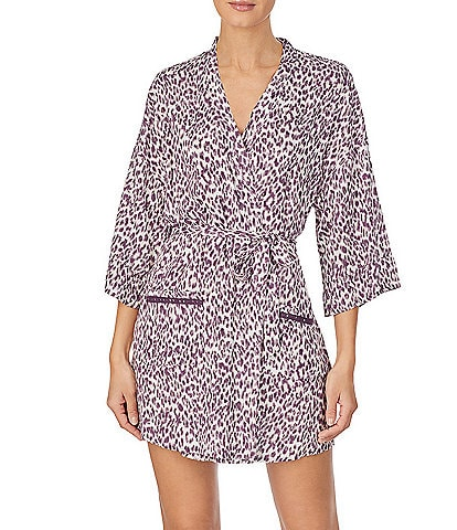 Kensie Animal-Print Woven Short Wrap Robe