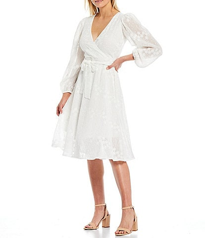 Kensie Belted Embroidered Long Sheer Sleeve Chiffon Wrap Dress