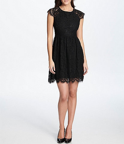 Kensie Cap Sleeve Scallop Hem Lace Fit & Flare Dress