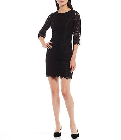 Kensie Elbow Sleeve Contrast Corded Lace Scalloped Sheath Dress