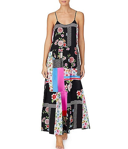 Kensie Floral Mixed Print Woven Maxi Chemise