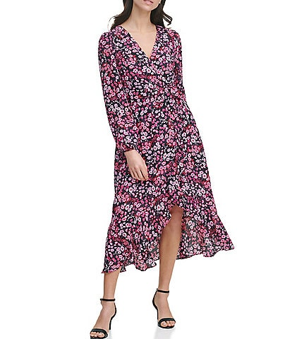 Kensie Floral Print Chiffon Faux Wrap Midi Dress