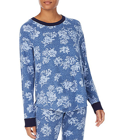 Kensie Floral Print Crew Neck Jersey Knit Sleep Top