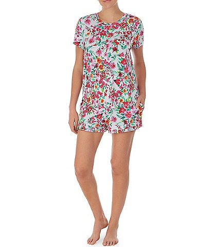 Kensie Floral Print Jersey Knit Tee and Shorts Pajama Set