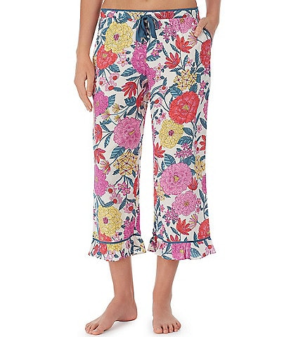 Kensie Floral Print Woven Cropped Sleep Drawstring Pants