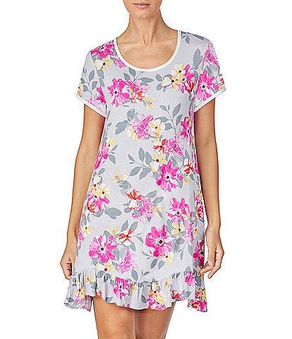 Kensie Floral-Printed Jersey Knit Sleep Shirt