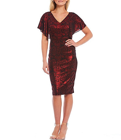 Kensie Flutter Sleeve Foiled Print Scuba Crepe Sheath Dress