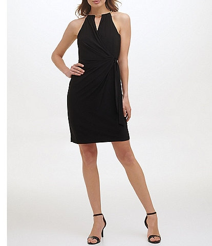 Kensie Gold Hardware Halter Sleeveless Cocktail Dress
