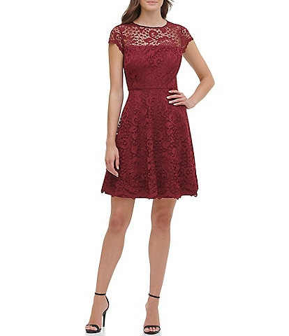 Kensie Illusion Neck Cap Sleeve Lace Fit & Flare Scallop Hem Fit and Flare Dress