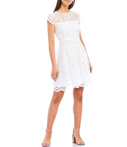 Kensie Illusion Neck Cap Sleeve Lace Fit & Flare Scallop Hem Dress