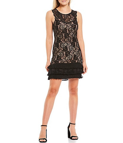 Kensie Illusion Neck Stretch Lace Satin Ruffle Hem Shift Dress