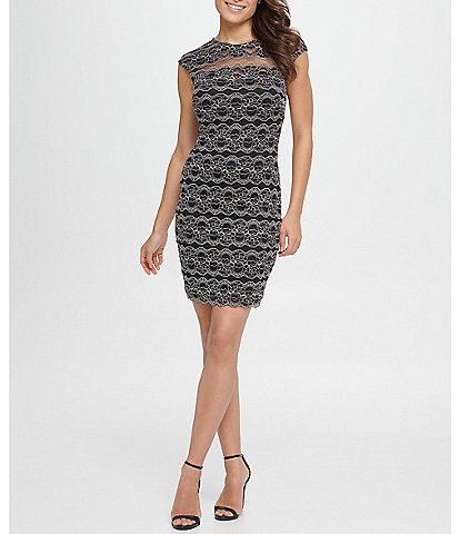 Kensie Illusion Yoke Floral Stripe Lace Scallop Hem Sheath Dress