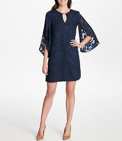 Kensie Keyhole Neck Tulip Sleeve Floral Chiffon Burnout Shift Dress