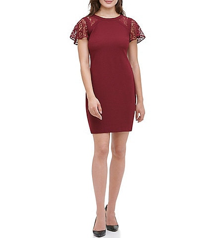 Kensie Lace Flutter Sleeve Crepe Sheath Dress