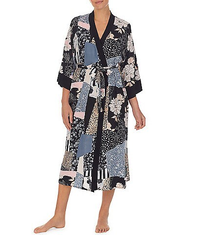 Kensie Mixed Patchwork Print Side Slit Woven Long Wrap Robe