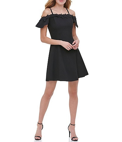 Kensie Off-The-Shoulder Floral Lace Trim Detail Stretch Crepe Fit & Flare Dress