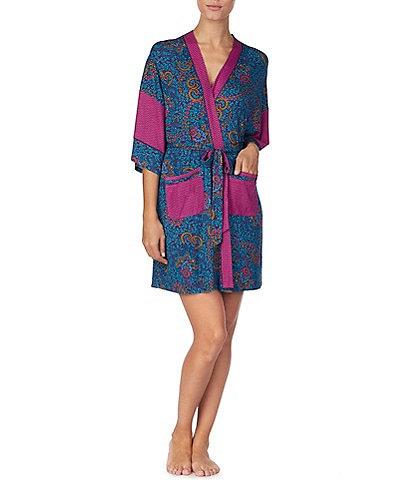 Kensie Paisley-Printed Jersey Knit Kimono Wrap Robe