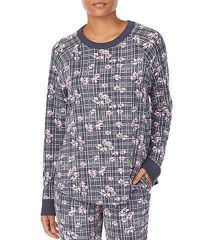 Kensie Plaid & Floral Print Jersey Knit Sleep Top