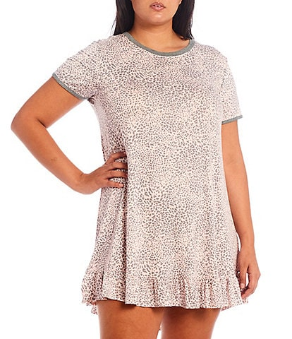 Kensie Plus Animal Print Round Neck Short Sleeve Jersey Knit Sleepshirt