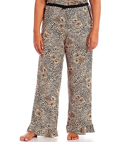 Kensie Plus Animal Printed Jersey Knit Coordinating Sleep Pants