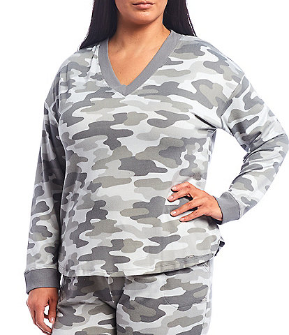 Kensie Plus Camouflaged Print Jersey Knit Long Sleeve Sleep Top