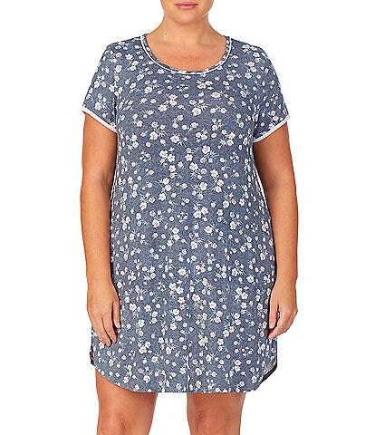 Kensie Plus Floral Print Jersey Knit Sleep Shirt
