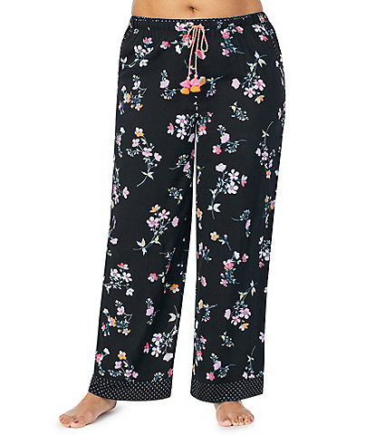 Kensie Plus Floral Print Woven Sleep Pants