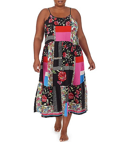 Kensie Plus Mixed Patch Printed Maxi Woven Chemise