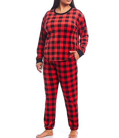 Kensie Plus Plaid Print Velour Pajama Set