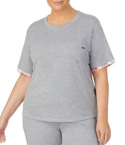 Kensie Plus Solid Jersey Knit Sleep Top