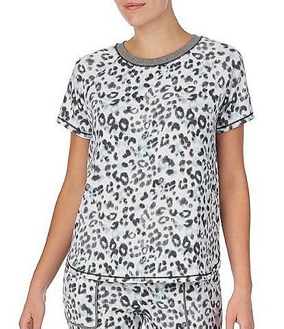 Kensie Polka Dot Printed Jersey Knit Sleeveless Ruffle Hem V-Neck Sleep Top