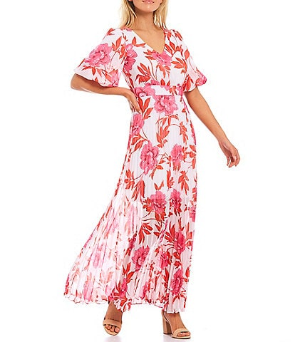 Kensie Puff Sleeve Floral Printed Chiffon Maxi Dress