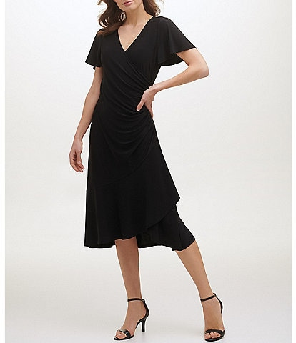 Kensie Ruched Waist Faux-Wrap V-Neck Short Flutter Sleeve Midi Dress