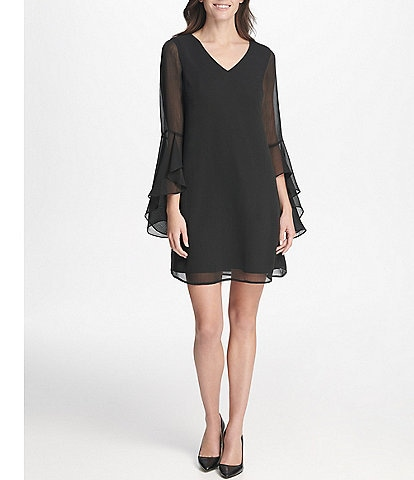 Kensie Ruffle Sleeve Chiffon Shift Dress
