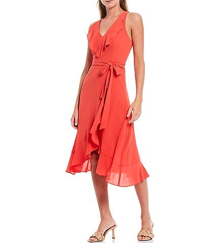 Kensie V-Neck Sleeveless Tie Waist Ruffled Pebble Crepe Midi Dress