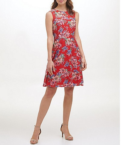 Kensie Jewel Neck Sleeveless Floral Lace A-Line Dress