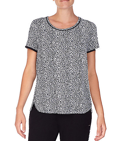 Kensie Small Animal Print Jersey Knit Sleep Top