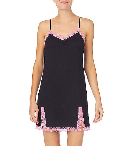Kensie Solid Knit Lace Trim Chemise
