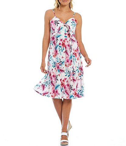 Kensie Spaghetti Strap Tie Front Printed Floral Cotton Dress