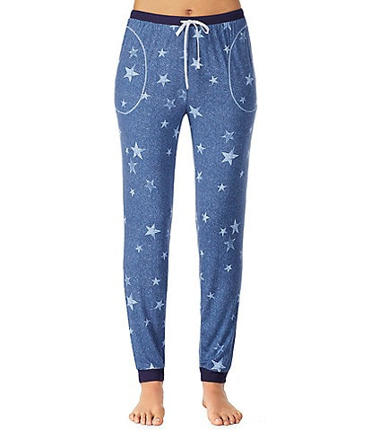 Kensie Star-Print Distressed Knit Jogger Sleep Pants