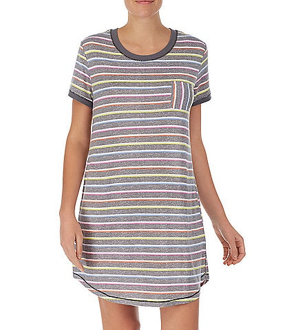 Kensie Striped Print Jersey Knit Jewel Neck Sleepshirt