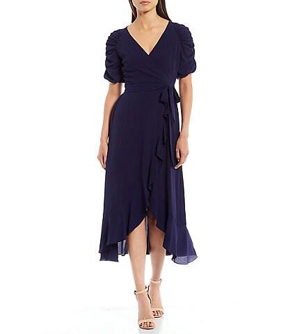 Kensie Surplice V-Neck Short Gathered Sleeve Midi Ruffle Pebble Crepe Wrap Dress