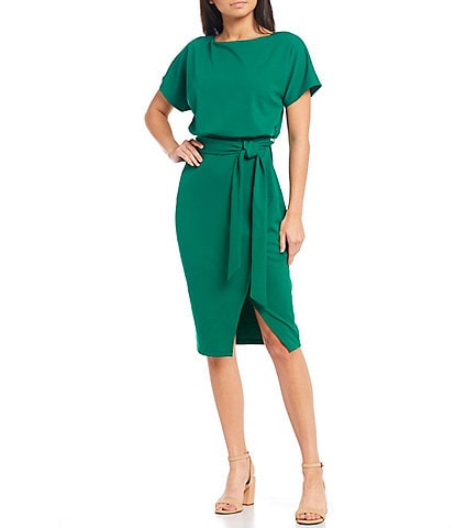 Kensie Textured Knit Boat Neck Tie Waist Short Sleeve Blouson Dress