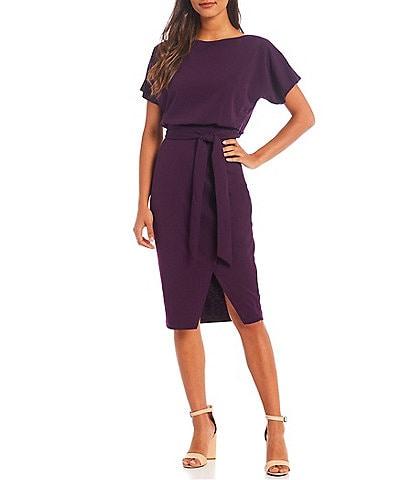 Kensie Textured Knit Boat Neck Tie Waist Short Sleeve Blouson Dress