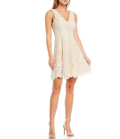 Kensie V-Neck Corded Lace Metallic Scallop Hem A-Line Dress