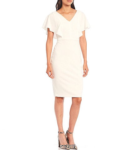 Kensie V-Neck Flutter Sleeve Scuba Crepe Midi Sheath Dress
